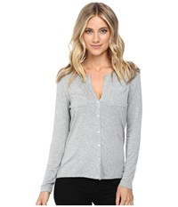Culture Phit Breya Long Sleeve Button Up Top Heather Grey Women's Long Sleeve Button Up Gray