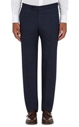 Isaia Men's Flannel Trousers Blue