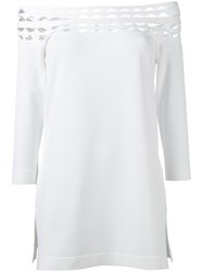 D.Exterior Off Shoulder Cut Out Blouse White