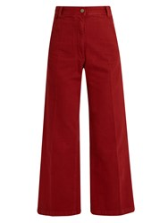 Rachel Comey Bishop High Rise Wide Leg Cotton Trousers Dark Red