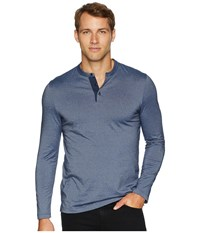 Perry Ellis Striped Henley Ink Clothing Navy