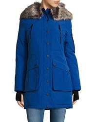 Bcbgeneration Sherpa Lined And Faux Fur Trimmed Hooded Parka Cobalt