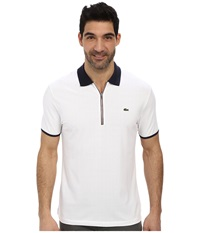 Lacoste Pique Pima Stretch Slim Fit Polo With Zipper Placket White Navy Blue Burgundy Men's Short Sleeve Pullover