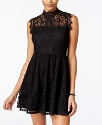 Speechless Juniors' Mock Neck Lace Dress Black
