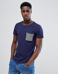Tom Tailor T Shirt With Stripe Pocket In Navy Navy 6811