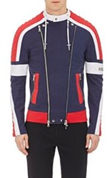 Balmain Colorblocked Double Zip Moto Jacket Blue