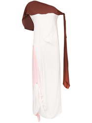 Marni Draped One Shoulder Dress Silk Acetate White