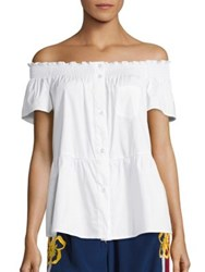 Red Valentino Off The Shoulder Peplum Blouse White