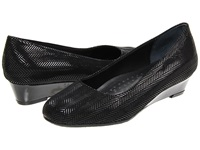 Trotters Lauren Black Suede Patent Leather Women's Wedge Shoes