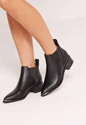 Missguided Pointed Toe Metal Detail Ankle Boots Black