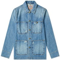 Acne Studios Albyr Ripped Denim Work Jacket Blue