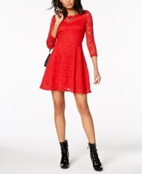 Material Girl Juniors' Mesh Trim Lace Dress Created For Macy's Ablaze