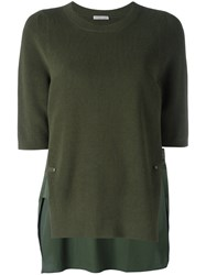 Moncler Side Slit Knitted Sweater Green