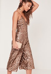 Missguided Sequin Culotte Jumpsuit Brown Bronze