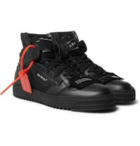 Off White Court Full Grain Leather And Canvas High Top Sneakers Black