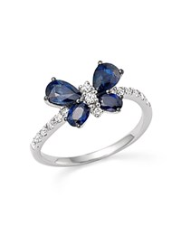 Bloomingdale's Sapphire And Diamond Butterfly Ring In 14K White Gold