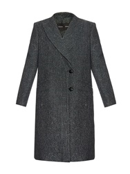 Proenza Schouler Peak Lapel Speckled Tweed Long Coat