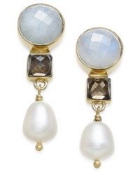 Paul And Pitu Naturally 14K Gold Plated Moonstone Labrodorite Freshwater Pearl Drop Earrings
