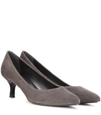 Tod's Decollete Suede Kitten Heel Pumps Grey
