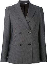 Paul Smith Ps By Patterned Double Breasted Blazer Women Cotton Viscose Wool 42 Black