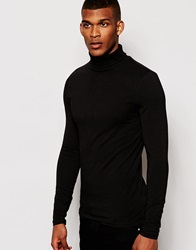 Asos Extreme Muscle Fit Long Sleeve T Shirt With Roll Neck Black