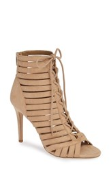 Bcbgmaxazria Bcbg Julie Lace Up Open Toe Bootie Sand Dollar Suede