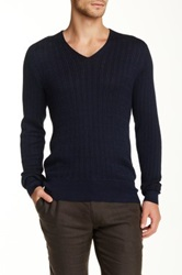 John Varvatos Cable Knit V Neck Sweater Blue