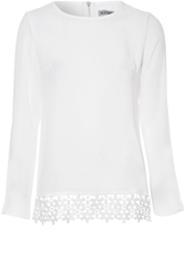 Alice And You Long Sleeve Crochet Hem Top Cream