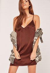 Missguided Silky Cami Dress Brown Chocolate