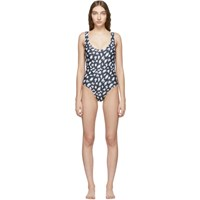 Ashley Williams Ssense Exclusive Black And White Scribble One Piece Swimsuit