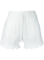 High 'Lola' Scalloped Lace Cotton Shorts White