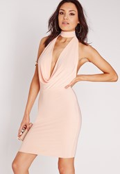 Missguided Halter Neck Band Bodycon Dress Nude Beige