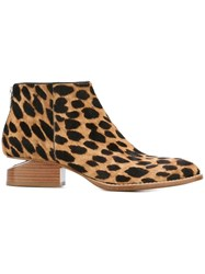Alexander Wang 'Kori' Leopard Print Ankle Boots Nude And Neutrals