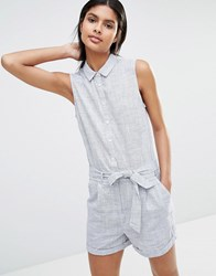 Vila Belted Playsuit Folkstone Grey Combo Multi