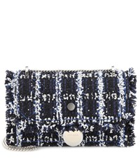 Jimmy Choo Finley Tweed Shoulder Bag Blue