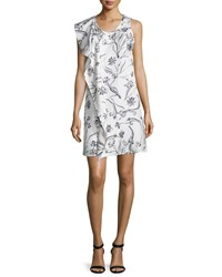 3.1 Phillip Lim Sleeveless Draped Floral Silk Dress Lilac Purple White Size 10