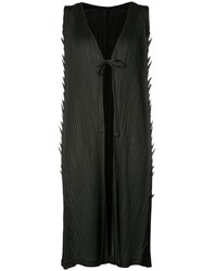 Issey Miyake Pleats Please By Tied Front Elongated Tank Women Polyester 4 Black
