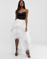 Chi Chi London Tiered Tulle Skirt White