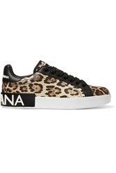 Dolce And Gabbana Logo Embellished Leopard Print Leather Sneakers Leopard Print