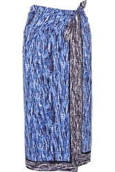 Proenza Schouler Reversible Printed Cotton Voile Pareo Cobalt Blue