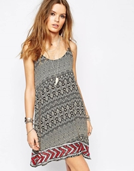 Glamorous Cami Strap Embellished Swing Dress In Aztec Print Multi