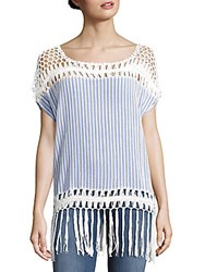 Steve Madden Striped Cotton Cutout Top Denim