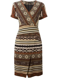 Etro Printed Wrap Style Dress Brown