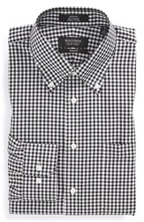 Men's Big And Tall Nordstrom Non Iron Trim Fit Gingham Dress Shirt Black Rock