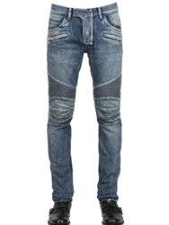 Balmain 18Cm Painted Denim Biker Jeans