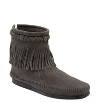Women's Minnetonka Fringed Moccasin Bootie Grey