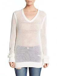 Equipment Cecile Cotton And Cashmere V Neck Sweater Ivory