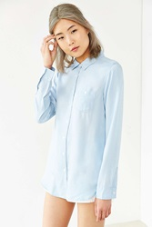Native Youth Bleach Washed Denim Shirt Light Blue