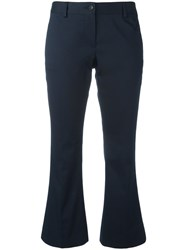 Alberto Biani Flared Cropped Trousers Women Cotton Spandex Elastane 48 Blue