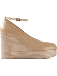 Maison Margiela Platform Wedge Tabi Pumps Nude And Neutrals